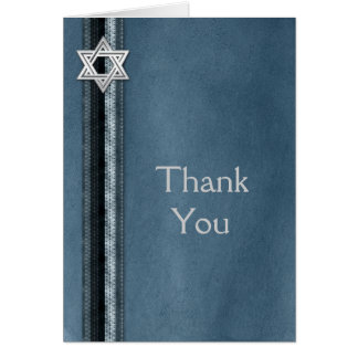 Bar Mitzvah Blue Striped Thank You Card