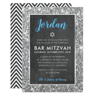 BAR MITZVAH cool chalkboard silver glitter invite