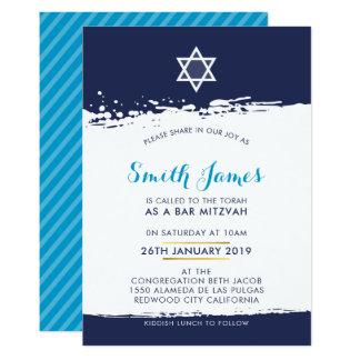 BAR MITZVAH cool modern tween brush stroke blue Card