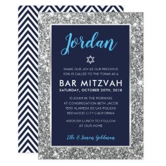BAR MITZVAH cool tween navy blue silver invite