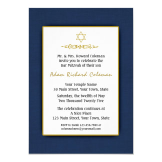 Bar Mitzvah Dark Blue and Gold Invitation