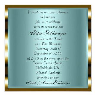 Bar Mitzvah Gold ceremony Invitation 12