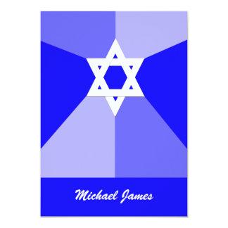 Bar Mitzvah Invitation Blue Star of David Invite