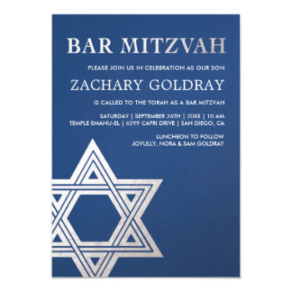Bar Mitzvah Invitations | Faux Silver Foil Star