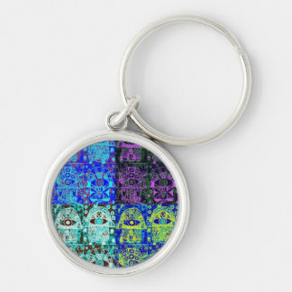 Bar Mitzvah 'KeyChain GiveAway' : Hamsa Silver-Colored Round Key Ring