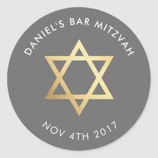 Bar Mitzvah modern grey + gold star of david Classic Round Sticker