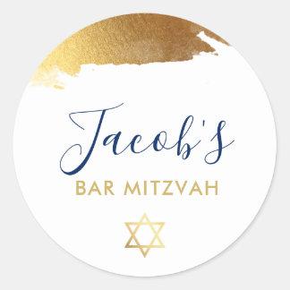BAR MITZVAH modern luxe gilded gold navy blue Classic Round Sticker