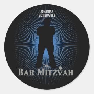 Bar Mitzvah Movie Star Sticker in Blue, Black