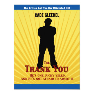 Bar Mitzvah Movie Star Thank You Card/Cade Card