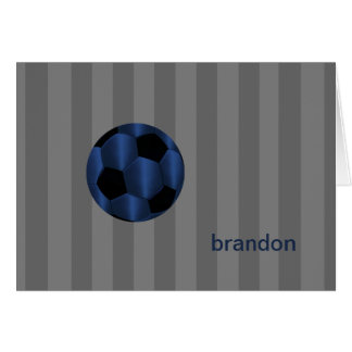 Bar Mitzvah Navy Blue and Black Soccer Ball Card