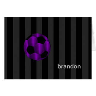 Bar Mitzvah Purple and Black Soccer Ball Card