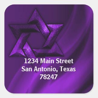Bar Mitzvah Purple Eternal Star of David Square Sticker
