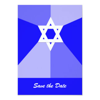 Bar Mitzvah Save the Date Invitation Card Blue