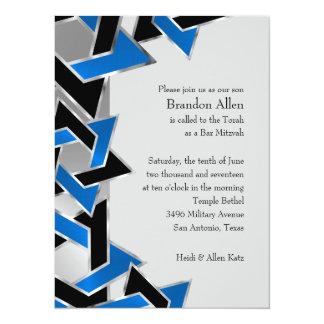 Bar Mitzvah Silver Blue Black Star of David 14 Cm X 19 Cm Invitation Card