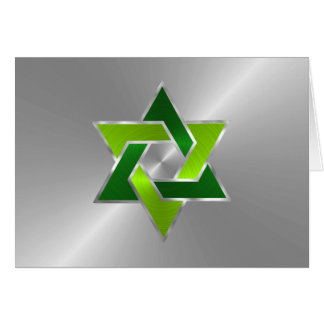 Bar Mitzvah Silver Lime Green Star of David Card
