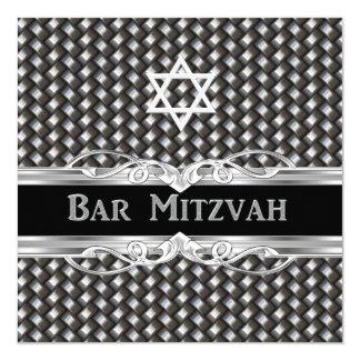 Bar Mitzvah Star Black Silver Metal male boy Card