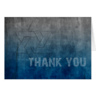 Bar Mitzvah Star of David Blue Grunge Card