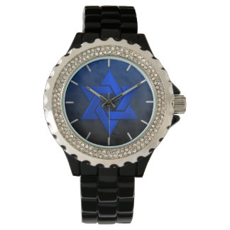Bar Mitzvah Stylish Blue Star of David Ombre Wrist Watch