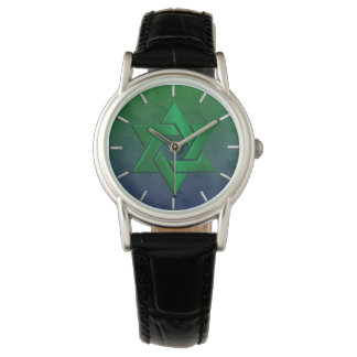 Bar Mitzvah Stylish Green Star of David Ombre Wristwatch