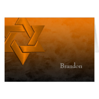 Bar Mitzvah Stylish Orange Star of David Ombre Card