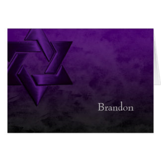 Bar Mitzvah Stylish Purple Star of David Ombre Card