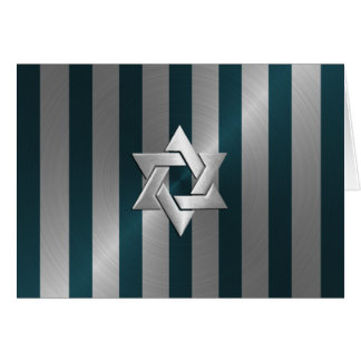 Bar Mitzvah Teal and Silver Stripe Star of David Card