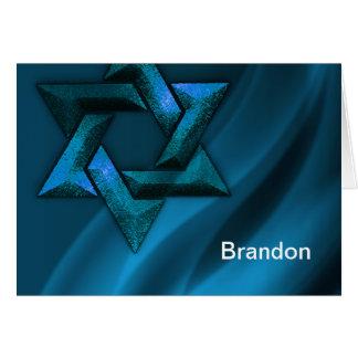 Bar Mitzvah Teal Blue Star of David Card