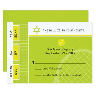 Bar Mitzvah Tennis Ticket RSVP Card