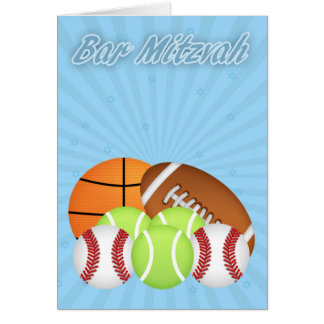 Bar Mitzvah With Various Sport Balls, Tennis, Base Greeting Card