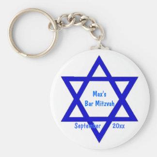 Bar or Bat Mitzvah Star Basic Round Button Key Ring