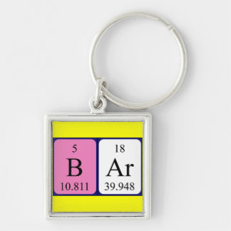 Bar periodic table keyring Silver-Colored square key ring