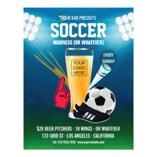 Bar Soccer Event Menu add logo and photo