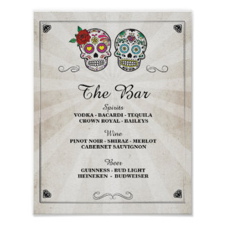 Bar Sugar Skulls Rose Sign Wedding Party Halloween