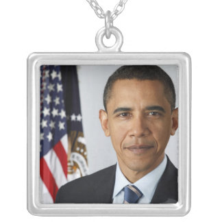 Barack Obama 44th President of the United States Silver Plated Necklace