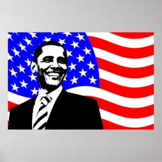 Barack Obama American Flag Poster