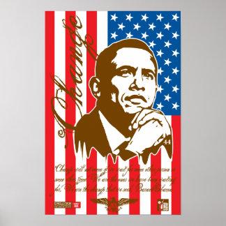 Barack Obama - Change (crisp) Poster