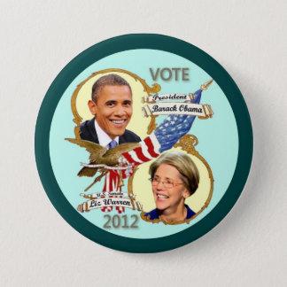 Barack Obama & Elizabeth Warren 2012 7.5 Cm Round Badge