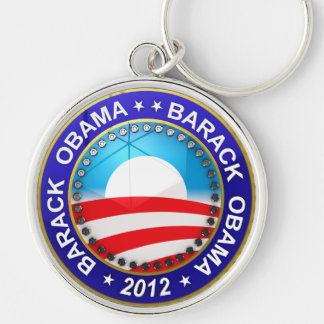 Barack Obama for president 2012 Silver-Colored Round Key Ring
