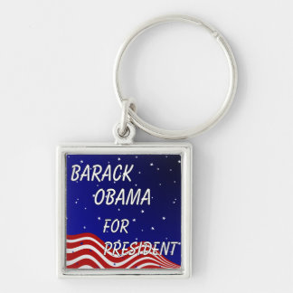 Barack Obama For President Night Sky Silver-Colored Square Key Ring