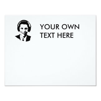Barack Obama headphones 11 Cm X 14 Cm Invitation Card