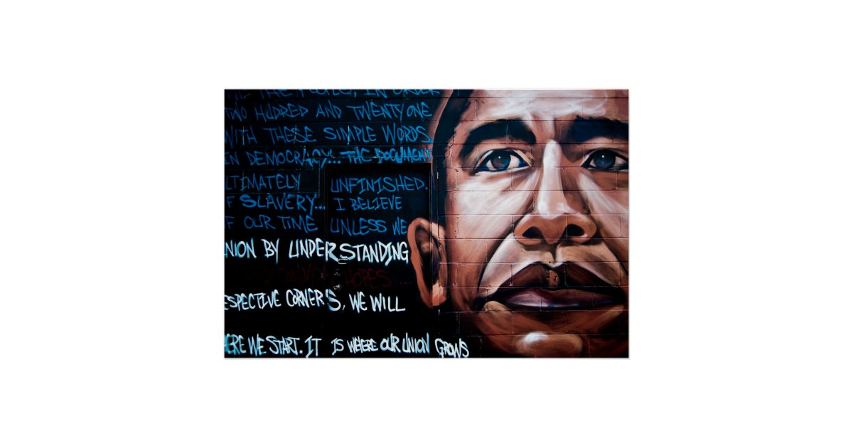 Barack obama mural speech brooklyn new york poster for Acheter poster mural new york