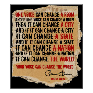 BARACK OBAMA-ONE VOICE POSTER B2