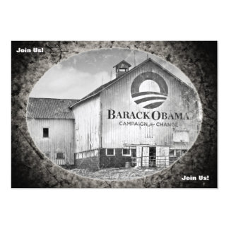 Barack Obama Presidential Campaign Barn 13 Cm X 18 Cm Invitation Card