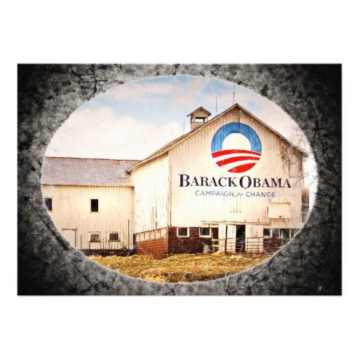 Barack Obama Presidential Campaign Barn Personalized Invitation