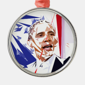 Barack Obama Silver-Colored Round Decoration