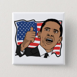 Barack Obama Thumbs Up 15 Cm Square Badge