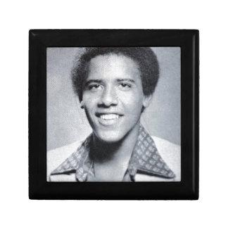 Barack Obama Yearbook Photo Small Square Gift Box