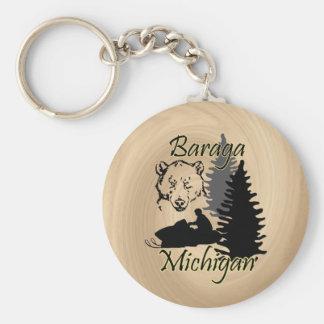 Baraga Michigan Snowmobile Bear Wood Look Key Ring