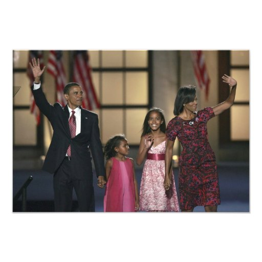 Barak Obama family wave at the last night of Photo Print