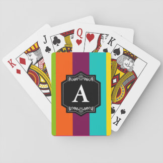 Baralhos Classic Stripes Backward Initial Monogram Playing Cards